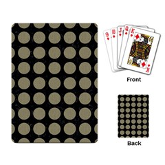 Circles1 Black Marble & Khaki Fabric (r) Playing Card by trendistuff