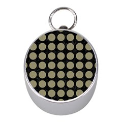 Circles1 Black Marble & Khaki Fabric (r) Mini Silver Compasses by trendistuff