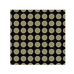 Circles1 Black Marble & Khaki Fabric (r) Small Satin Scarf (square) by trendistuff