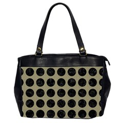 Circles1 Black Marble & Khaki Fabric Office Handbags (2 Sides)  by trendistuff