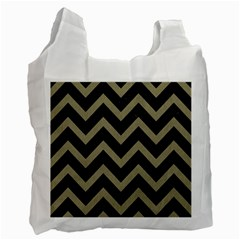 Chevron9 Black Marble & Khaki Fabric (r) Recycle Bag (one Side) by trendistuff