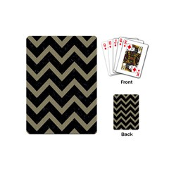Chevron9 Black Marble & Khaki Fabric (r) Playing Cards (mini)  by trendistuff