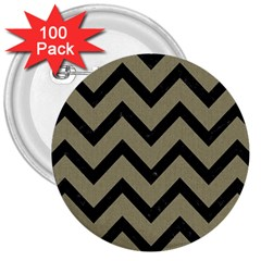 Chevron9 Black Marble & Khaki Fabric 3  Buttons (100 Pack)