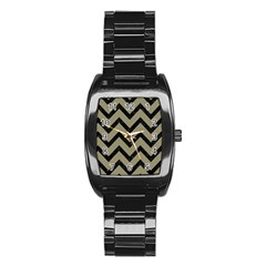 Chevron9 Black Marble & Khaki Fabric Stainless Steel Barrel Watch by trendistuff