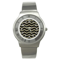 Chevron3 Black Marble & Khaki Fabric Stainless Steel Watch by trendistuff