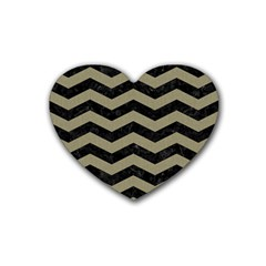 Chevron3 Black Marble & Khaki Fabric Heart Coaster (4 Pack)  by trendistuff