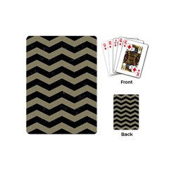 Chevron3 Black Marble & Khaki Fabric Playing Cards (mini)  by trendistuff