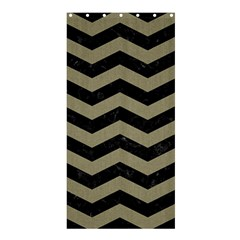 Chevron3 Black Marble & Khaki Fabric Shower Curtain 36  X 72  (stall)  by trendistuff