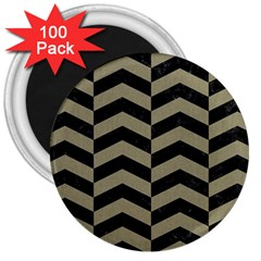 Chevron2 Black Marble & Khaki Fabric 3  Magnets (100 Pack) by trendistuff