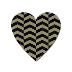 Chevron2 Black Marble & Khaki Fabric Heart Magnet