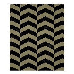 Chevron2 Black Marble & Khaki Fabric Shower Curtain 60  X 72  (medium)  by trendistuff