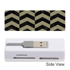 Chevron2 Black Marble & Khaki Fabric Memory Card Reader (stick)  by trendistuff