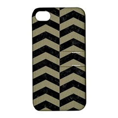 Chevron2 Black Marble & Khaki Fabric Apple Iphone 4/4s Hardshell Case With Stand by trendistuff