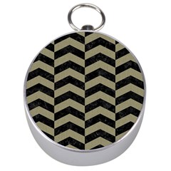 Chevron2 Black Marble & Khaki Fabric Silver Compasses by trendistuff