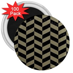 Chevron1 Black Marble & Khaki Fabric 3  Magnets (100 Pack) by trendistuff