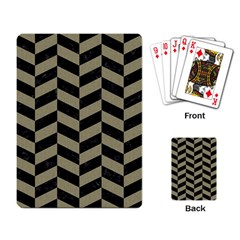 Chevron1 Black Marble & Khaki Fabric Playing Card by trendistuff