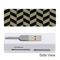 Chevron1 Black Marble & Khaki Fabric Memory Card Reader (stick)  by trendistuff