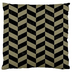Chevron1 Black Marble & Khaki Fabric Large Cushion Case (two Sides) by trendistuff