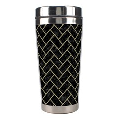 Brick2 Black Marble & Khaki Fabric (r) Stainless Steel Travel Tumblers by trendistuff
