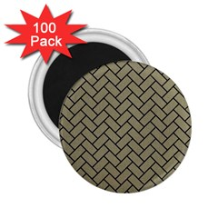 Brick2 Black Marble & Khaki Fabric 2 25  Magnets (100 Pack)  by trendistuff