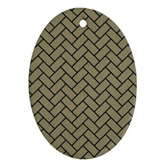 Brick2 Black Marble & Khaki Fabric Oval Ornament (two Sides)