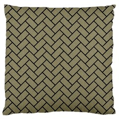 Brick2 Black Marble & Khaki Fabric Large Cushion Case (two Sides) by trendistuff