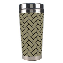 Brick2 Black Marble & Khaki Fabric Stainless Steel Travel Tumblers by trendistuff