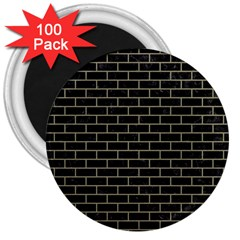 Brick1 Black Marble & Khaki Fabric (r) 3  Magnets (100 Pack) by trendistuff