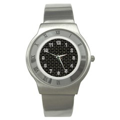 Brick1 Black Marble & Khaki Fabric (r) Stainless Steel Watch by trendistuff