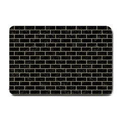 Brick1 Black Marble & Khaki Fabric (r) Small Doormat  by trendistuff