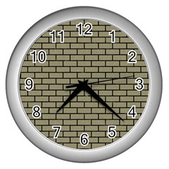 Brick1 Black Marble & Khaki Fabric Wall Clocks (silver)  by trendistuff