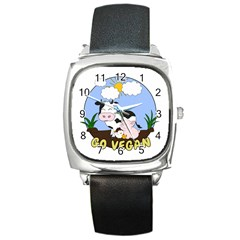 Friends Not Food   Cute Pig And Chicken Square Metal Watch by Valentinaart