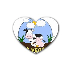 Friends Not Food   Cute Pig And Chicken Rubber Coaster (heart)  by Valentinaart