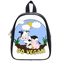 Friends Not Food   Cute Pig And Chicken School Bag (small) by Valentinaart