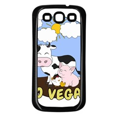 Friends Not Food   Cute Pig And Chicken Samsung Galaxy S3 Back Case (black) by Valentinaart