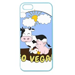 Friends Not Food   Cute Pig And Chicken Apple Seamless Iphone 5 Case (color) by Valentinaart