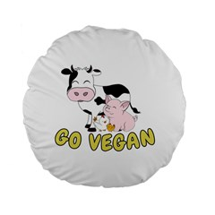 Friends Not Food   Cute Pig And Chicken Standard 15  Premium Flano Round Cushions