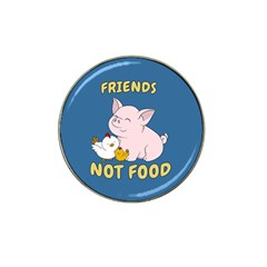Friends Not Food   Cute Pig And Chicken Hat Clip Ball Marker (10 Pack) by Valentinaart