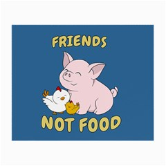 Friends Not Food   Cute Pig And Chicken Small Glasses Cloth (2 Side) by Valentinaart