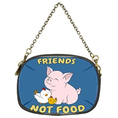 Friends Not Food   Cute Pig And Chicken Chain Purses (one Side)  by Valentinaart