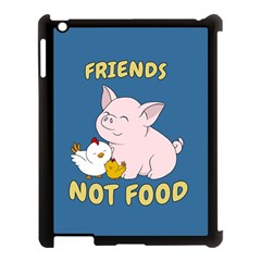Friends Not Food   Cute Pig And Chicken Apple Ipad 3/4 Case (black)