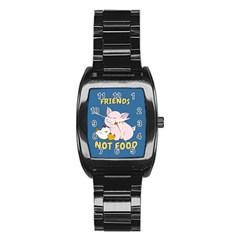 Friends Not Food   Cute Pig And Chicken Stainless Steel Barrel Watch by Valentinaart