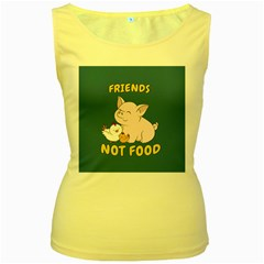 Friends Not Food   Cute Pig And Chicken Women s Yellow Tank Top