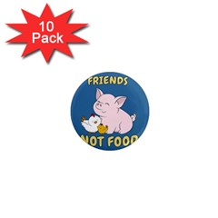 Friends Not Food   Cute Pig And Chicken 1  Mini Magnet (10 Pack)  by Valentinaart