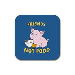 Friends Not Food   Cute Pig And Chicken Rubber Coaster (square)  by Valentinaart