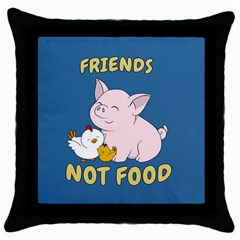 Friends Not Food   Cute Pig And Chicken Throw Pillow Case (black) by Valentinaart