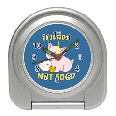 Friends Not Food   Cute Pig And Chicken Travel Alarm Clocks by Valentinaart