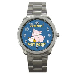 Friends Not Food   Cute Pig And Chicken Sport Metal Watch