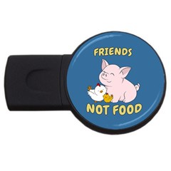Friends Not Food   Cute Pig And Chicken Usb Flash Drive Round (4 Gb) by Valentinaart