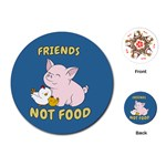 Friends Not Food - Cute Pig and Chicken Playing Cards (Round)  Front